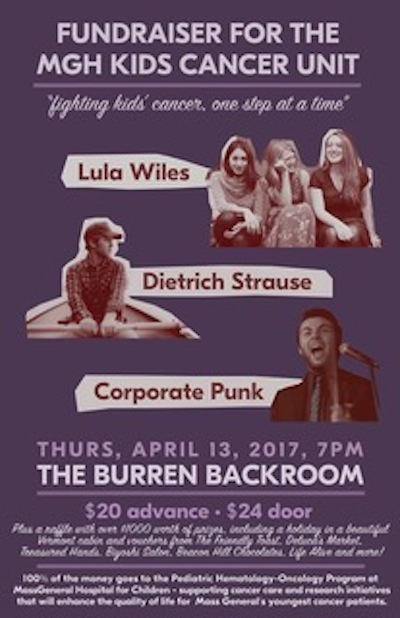 Lula Wiles, Corporate Punk, Ben Ashenden, Dietrich Strause Benefit for MGH Kids' Cancer Unit
